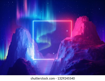 3d render, abstract space background, cosmic landscape, aurora borealis, parallel universe, square portal, pink blue neon light, virtual reality, energy source, ultraviolet spectrum, laser frame, rock