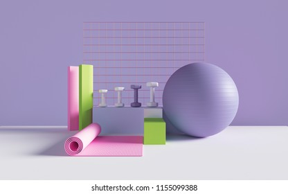 3d render, abstract sport, fitness equipment, active lifestyle, weight loss, objects, gym, pastel colors mockup