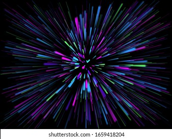 3D render of an abstract starburst background with rays of light