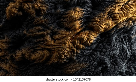 3d render of abstract surface. Dark and yellow colors. Gold like material on high detailed displaced surface.