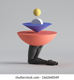3d render, abstract surreal fashion concept, funny contemporary art. Colorful geometric objects and black legs isolated on white background. Modern minimal sculpture