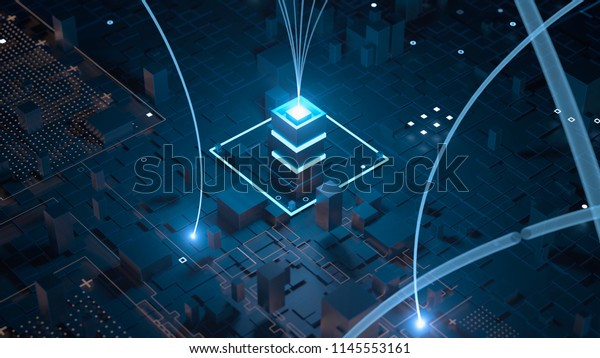 3d render abstract tehcnology background with connection arcs ang bright tower elements. Communication concept.