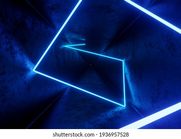 3d render, abstract tunnel background with blue neon ray, laser show or equalizer lights chart, ultraviolet spectrum
