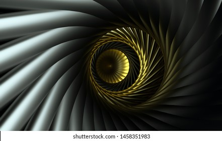 3d render of abstract tunnel inside aircraft turbine engine in gold and black metal materials