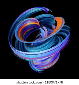 3d render, abstract twisted brush stroke, paint splash, splatter, colorful curl, artistic spiral, blue vortex, vivid ribbon on black background