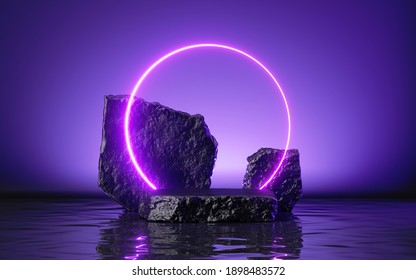 3d render abstract ultraviolet background with black rocks, cobblestone podium and neon glowing round frame, liquid floor with reflection in the water, futuristic showcase for product presentation