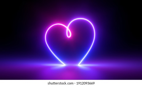 3d render, abstract ultraviolet background with neon heart frame. Modern minimal line art. Valentines Day romantic symbol glowing in the dark