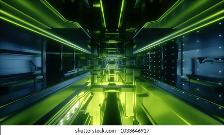 3d render, abstract urban background, futuristic urban interior, space station, geometric structure, tunnel, corridor, green neon laser light, cyber safety, virtual reality room
