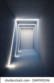 3d render, abstract urban background, illuminated empty corridor, interior, concrete walls, glowing light, daylight tunnel, no exit