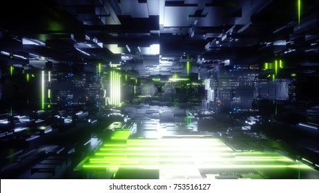3d render, abstract urban black background, futuristic green neon light glow, geometric construction