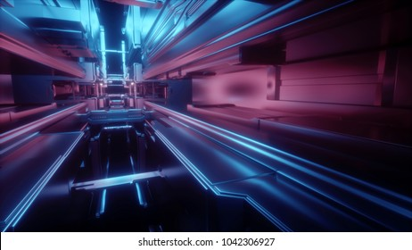 3d render, abstract urban geometric background, futuristic urban interior, space station, geometric structure, tunnel, corridor, storage, cyber safety, virtual reality room