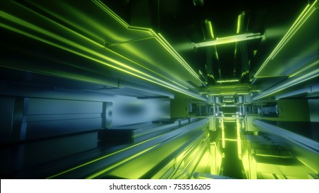 3d render, abstract urban geometric background, futuristic space station interior, green neon light,  geometric structure, tunnel, corridor, drone, space startion, cyber safety, virtual reality