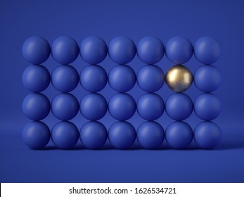3d render, abstract wall of many balls isolated on blue background. Gold element. Balance, gravity, one of a kind, exception concept. Matrix of geometric primitive shapes. Modern design. Clean style