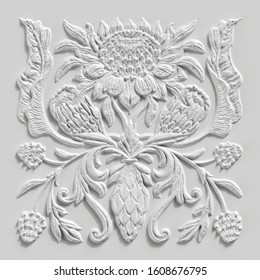 3d render, abstract white botanical background, stone carved floral ornament, plaster texture, alabaster, tropical flowers and leaves, gypsum wall decor, architectural design element, antique decor