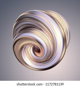 3d render, abstract white gold shape, platinum, silver, swirl, metallic, brush stroke, artistic smear, pastel spiral vortex, clip art isolated light grey background