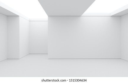 3d render with abstract white minimalistic interior room with white walls and white big lamps