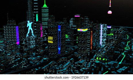 3d render. Aerial view of a Dystopian Shanghai city in the future with projection mapping on buildings with cyberpunk, neon colors.