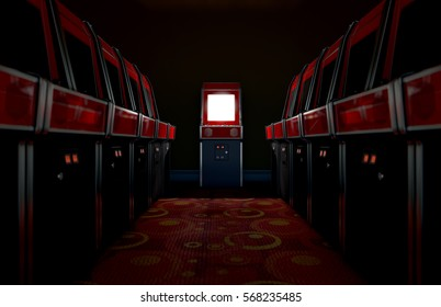 A 3D render of an aisle of switched off vintage arcade game machines with one at the end with an illuminated screen in a retro arcade room