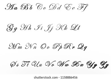 3D render of all letters from A to Z with Edwardian font. Beauty and elegant on grey color.