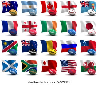 3D Render of all the participating nations in the rugby world cup.