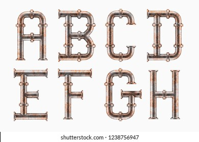 3D render of Alphabet made of rusty metal piping elements - letters A to H