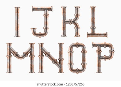 3D render of Alphabet made of rusty metal piping elements - letters I to P