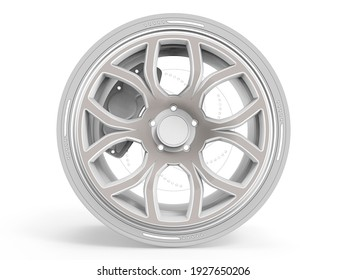 3D render of an aluminum car disc complete with a brake system (sketch)