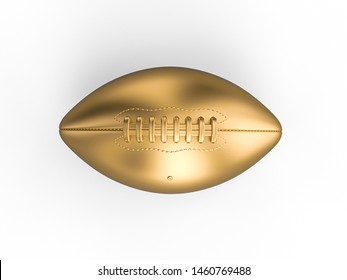 3d render of american football ball in gold color isolated on white background