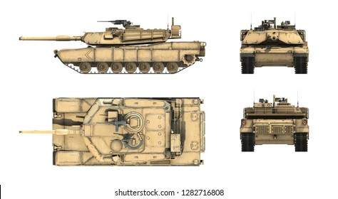 3d render of American main batle tank M1A1 Abrams