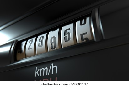 A 3D render of an analogue car odometer concept showing a very high mileage