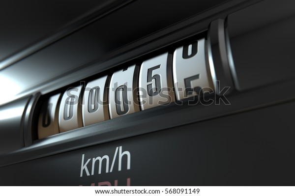 A 3D render of an analogue car odometer concept showing a very low mileage