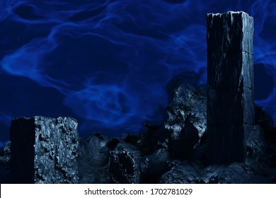 3D render with ancient stone ruins on a background of blue mystical space