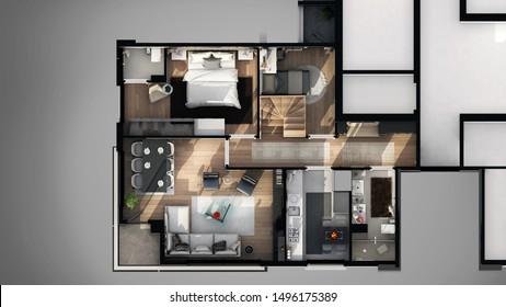 3d render apartment floor plan 3d view