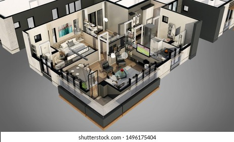 3d render apartment floor plan 3d view