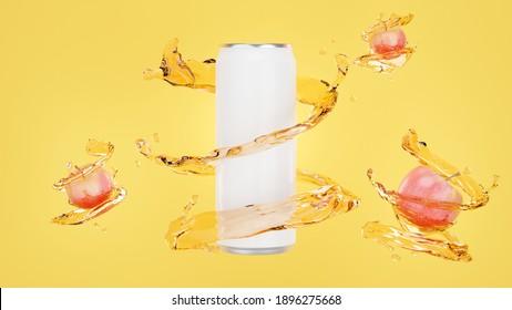 3d render of apple juice can with splash for mockup