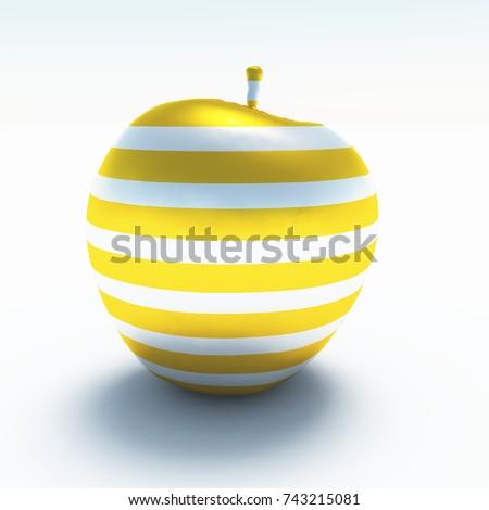 3 D Render Apple Made Glass Stock Illustration Royalty