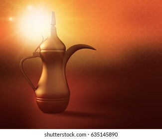 3D render of an arabic coffee dallah placed on a lit background
