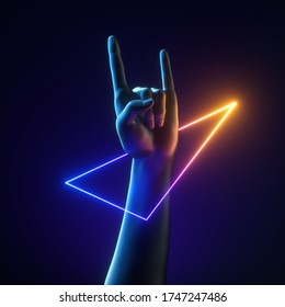 3d render artificial hand rock gesture, geometric bracelet. Colorful neon light triangle. Human mannequin body part isolated on black background. Abstract contemporary art. Modern minimal concept
