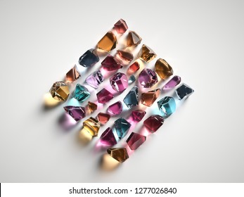 3d render, assorted colored spiritual crystals isolated on white background, fashionable wallpaper, reiki healing quartz, rough nuggets, faceted gemstones, semiprecious gems, square shape