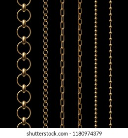 3d render, assorted gold chains, design elements set, collection, isolated on black background