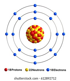 3d render of atom structure of argon isolated over white background