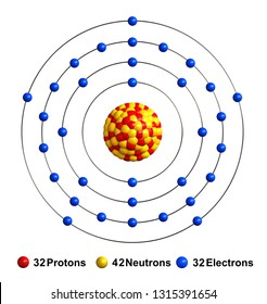 3d render of atom structure of arsenic isolated over white background  protons are represented as red
