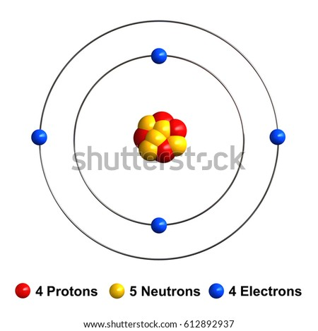3 D Render Atom Structure Beryllium Isolated Stock Illustration