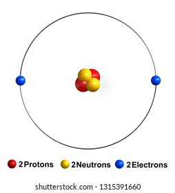3d render of atom structure of helium isolated over white background