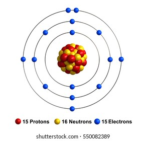 3d render of atom structure of phosphorus isolated over white backgroundProtons are represented as red spheres, neutron as yellow spheres, electrons as blue spheres