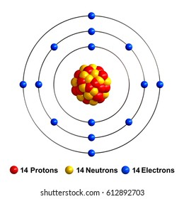 3d render of atom structure of silicon isolated over white background