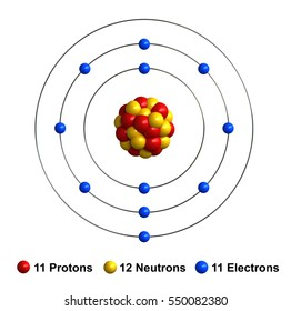 3d render of atom structure of sodium isolated over white background