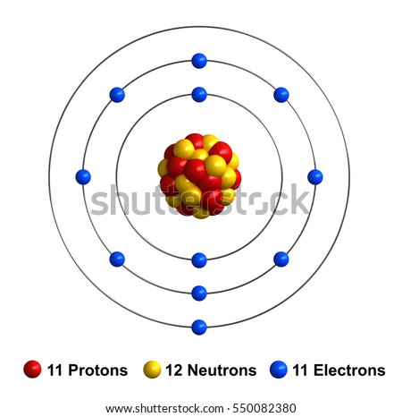 royalty free stock illustration of 3 d render atom structure sodium Sodium Dot Diagram 3d render of atom structure of sodium isolated over white background protons are represented as red