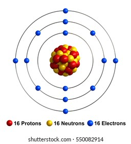 3d render of atom structure of sulfur isolated over white backgroundProtons are represented as red spheres, neutron as yellow spheres, electrons as blue spheres