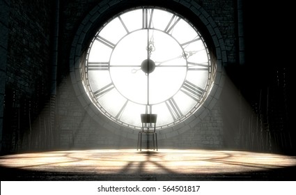 A 3D render of the attic room behind an antique tower clock brightly illuminated by the sun revealing an empty chair looking outwards